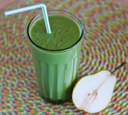 Pear-Ginger Green Smoothie || Happy Herbivore