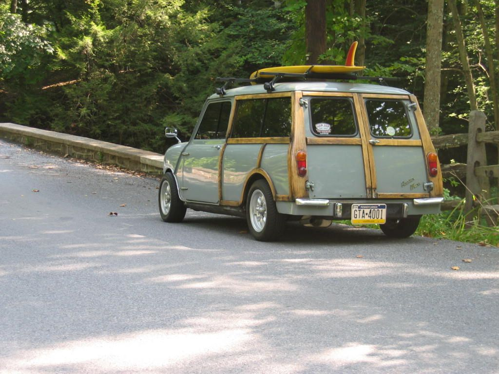 '64 Austin Mini Countryman woody surf wagon... i freakin luv this idea on small wagons.