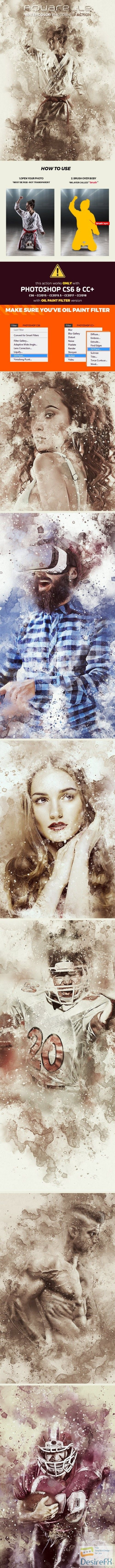 Graphicriver Aquarelle Watercolor Photoshop Action 21643236