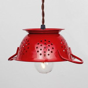 Mini Colander Pendant Red Buy Metal Hanging Lights And Pendants - Red kitchen light fixtures