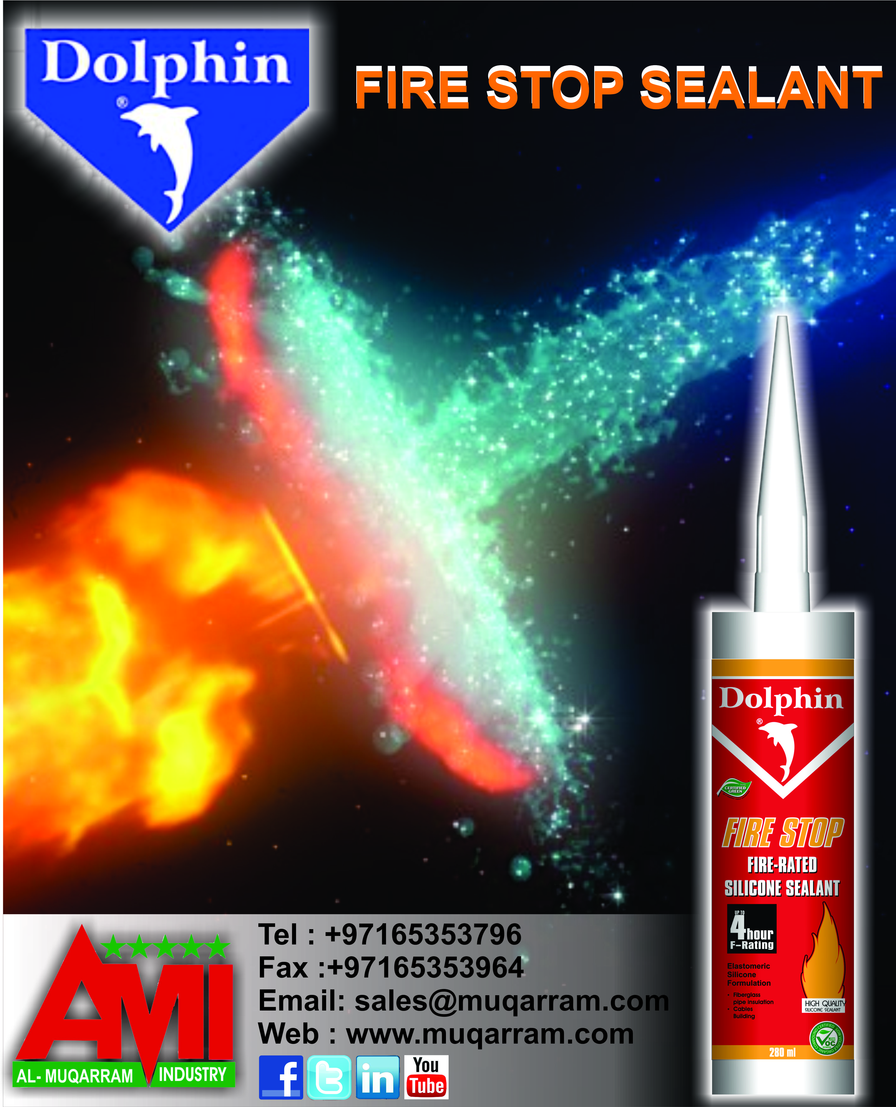 Dolphin Fire Stop Silicone sealant which has fire rating