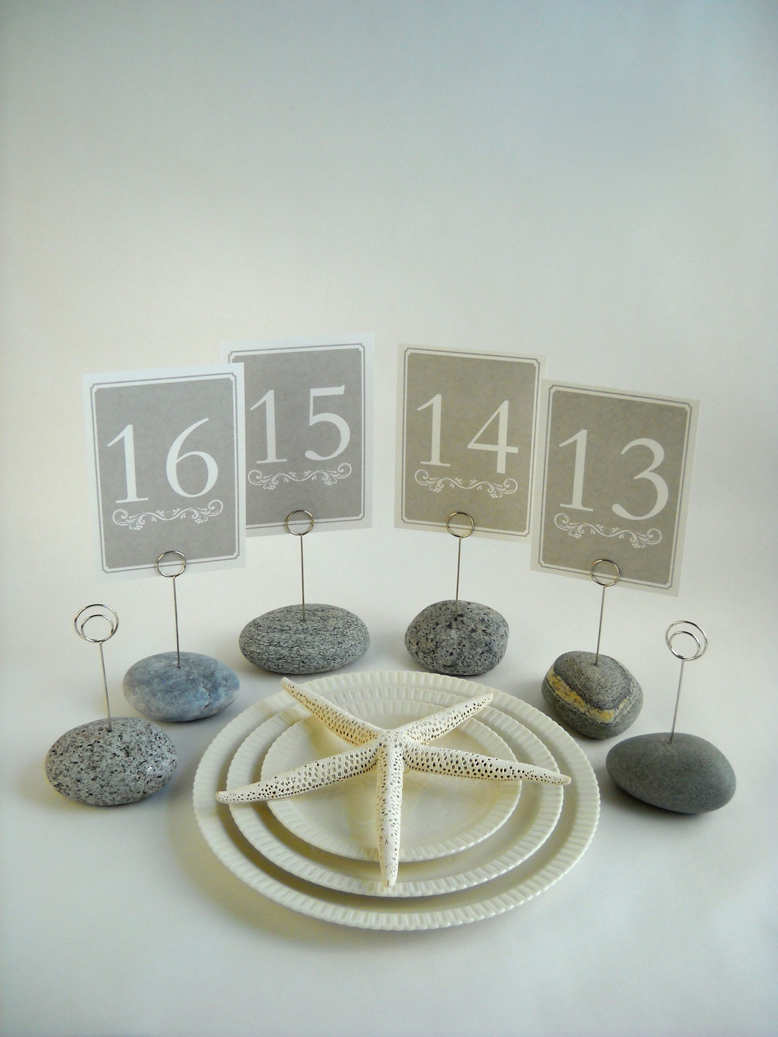 Beach Stone Clips for Thank You Cards ...Wedding Table Number ...