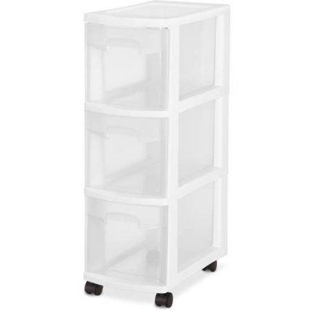 sterilite 3 drawer narrow cart white set of 3 products storage rh pinterest com