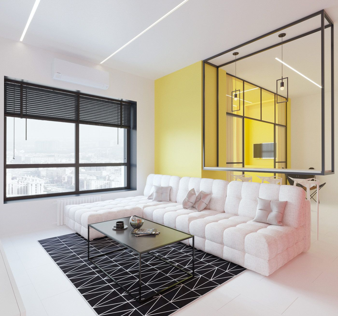 mondrian inspired interior with modern geometric accents design rh pinterest com