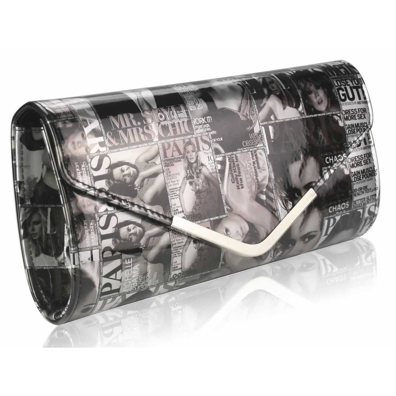 Magazine Print Clutch Bag Extremely Fashionable Right Now This Will Make You Stand Out From The Crowd It Is Perfect For Nights