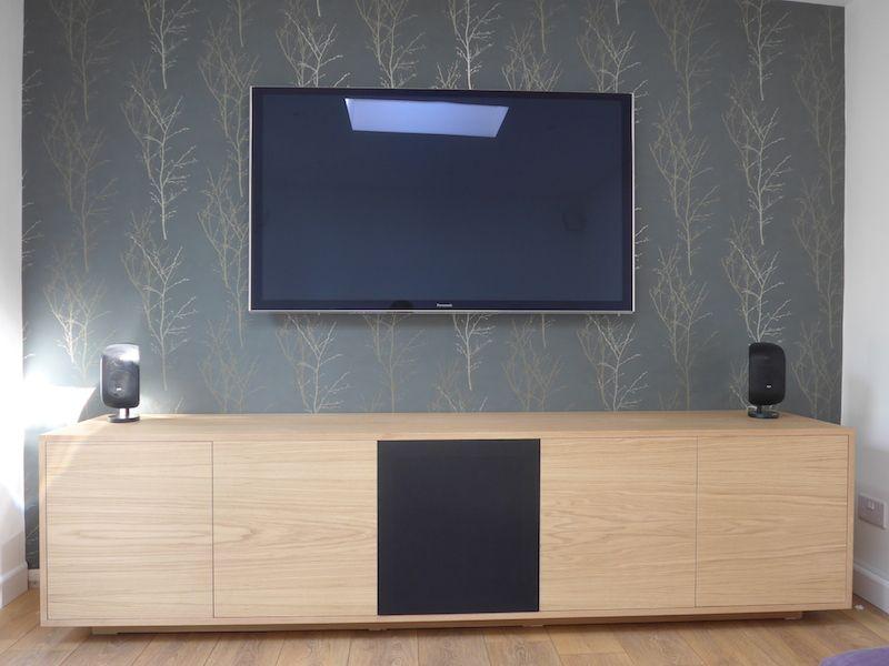 oak tv av unit featuring a central speaker cloth door push to open rh pinterest com