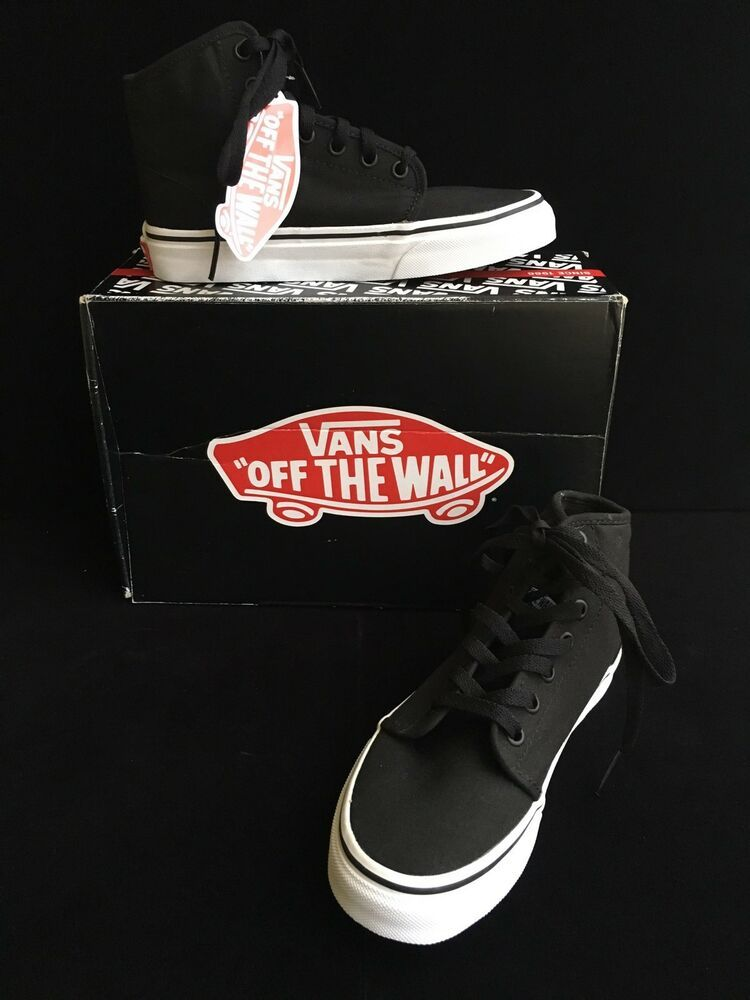 602e865b1321 Vans 106 HI Black True White Canvas Sneakers Boys 3.5M Men Women 5M New  60