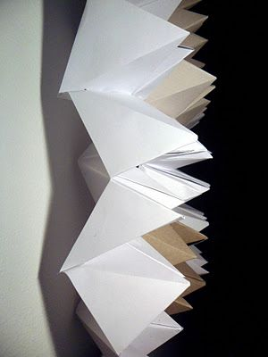 Origami as art - the blog (which is in Finnish) also has some thoughts about lamps in the same style - I am thinking about lamp shades done in the metallic or coloured vellum from the stationers, to add both colour and sparkle...