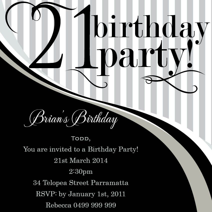 21st Invitations Black And White Google Search 21st Birthday Invitations Party Invite Template Birthday Card Template Free