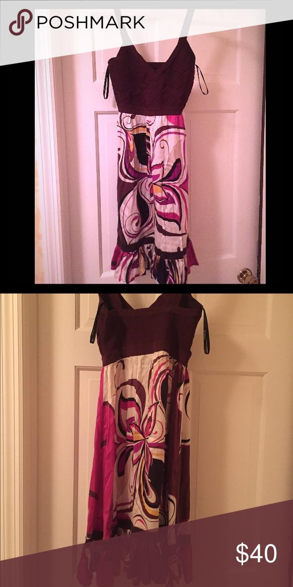 Bandage top, silk bottom Bebe dress Brown bandage top/floral silk dress. Excellent condition! bebe Dresses Midi
