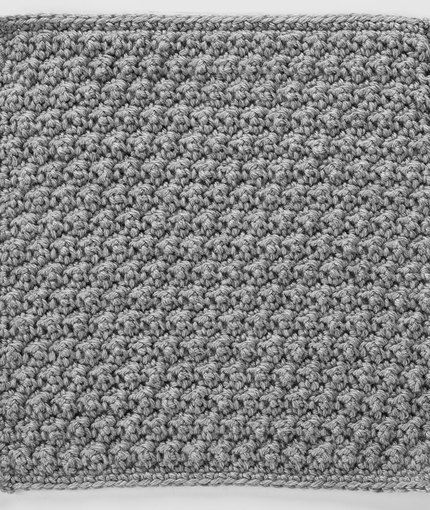 Raised Crochet Treble Square For Checkerboard Textures Throw Crochet