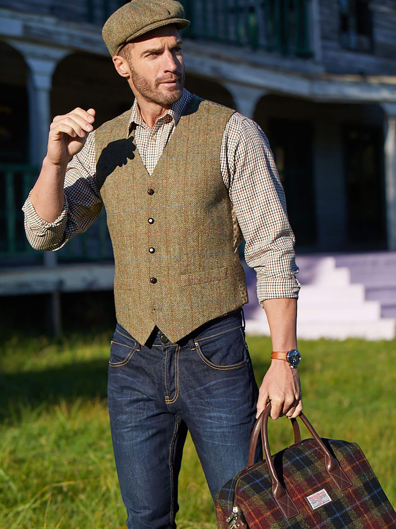 1920s Style Men S Vests Pullover Vests Waistcoats Mens Vest Fashion Harris Tweed Waistcoat 1920s Mens Fashion