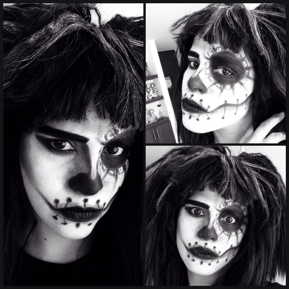 maquillage halloween black and white