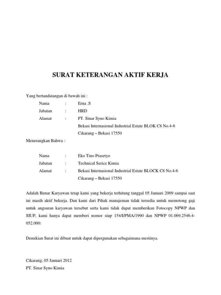 Contoh Surat Keterangan Karyawan Surat Industrial Membaca