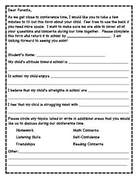 Send This Letter Home Before Conferences To Gain Information From