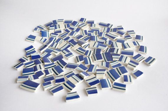 Mosaic Tiles Cobalt Blue and White Striped