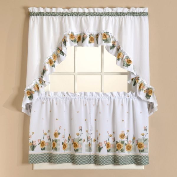 Sunflower Tier Curtains Set Curtain Drapery Com Kitchen