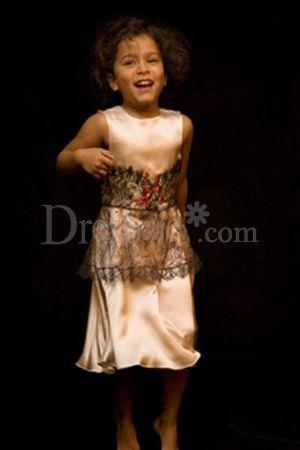Sleeveless Satin Lace Embellished Flower Girl Dress