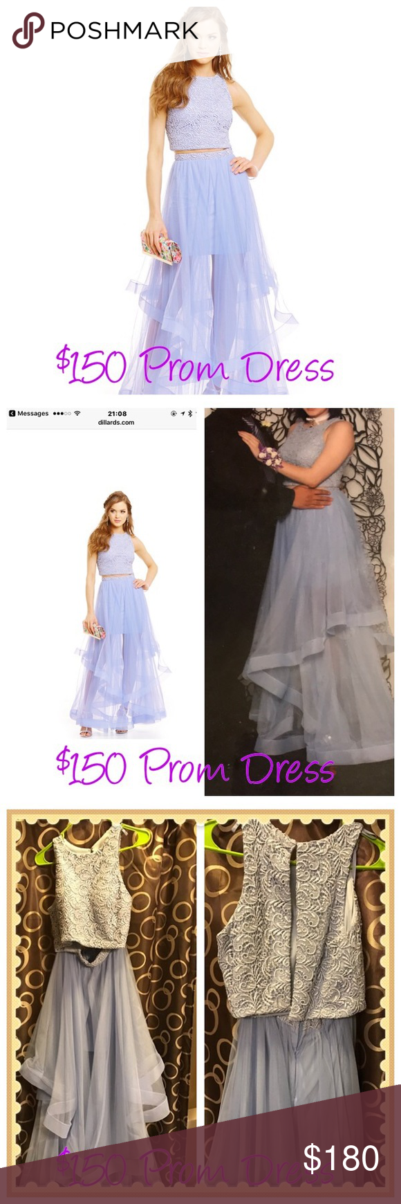 Two piece layered skirt gown prom dress sz periwinkle color