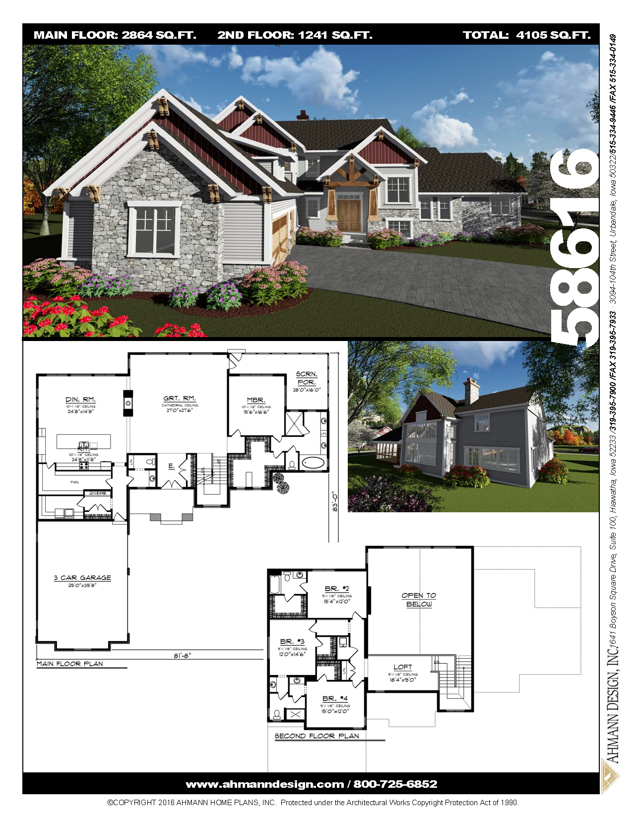 House plans · ahmann design plan 58616 massive columns define the entry of this craftsman style home drawing
