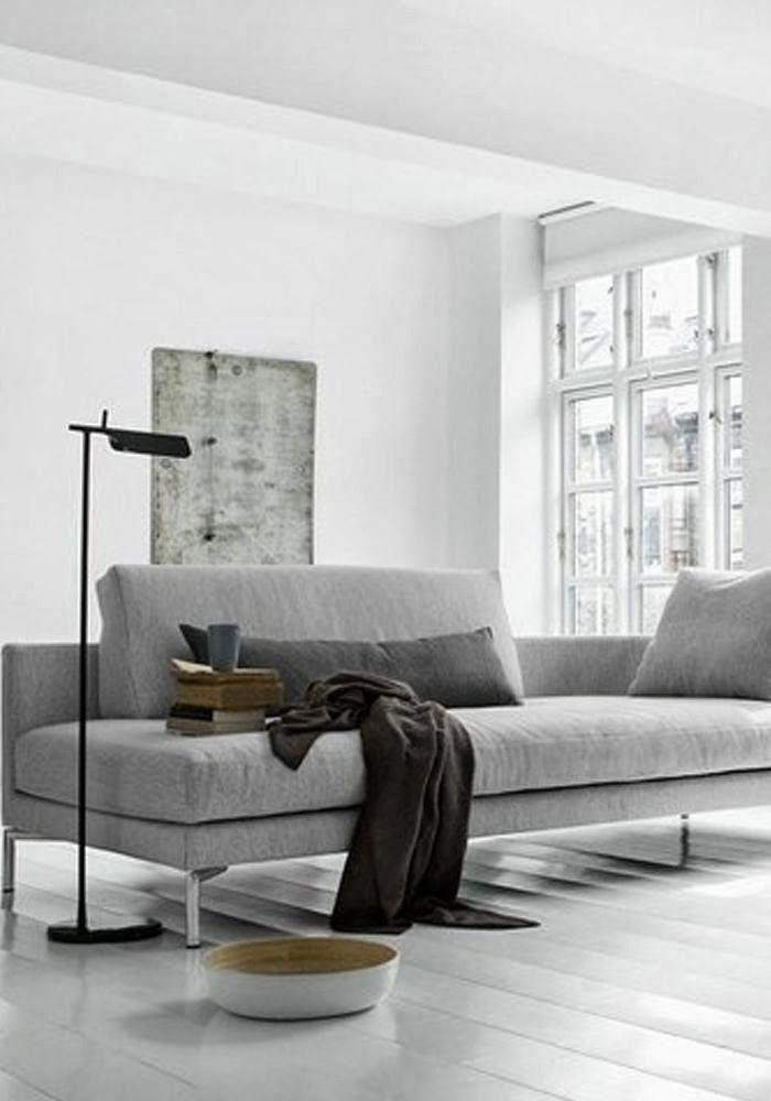 minimalist living room ideas white floorboards deep grey sofa rh pinterest com