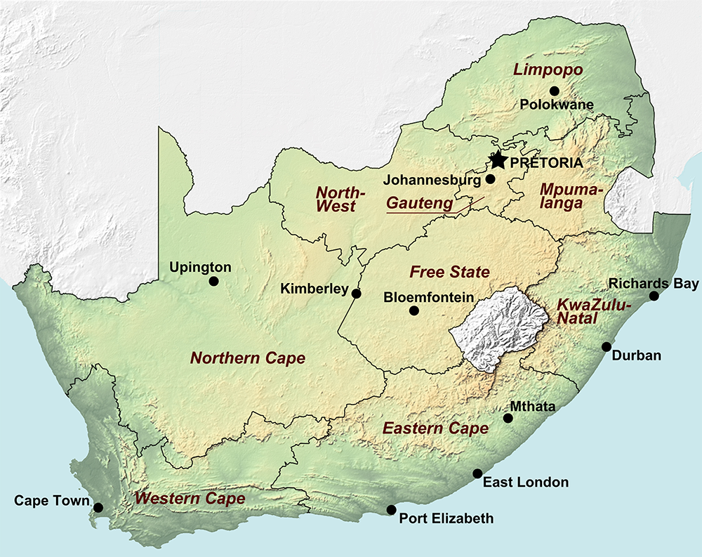 South Africa Map with cities blank outline map of South