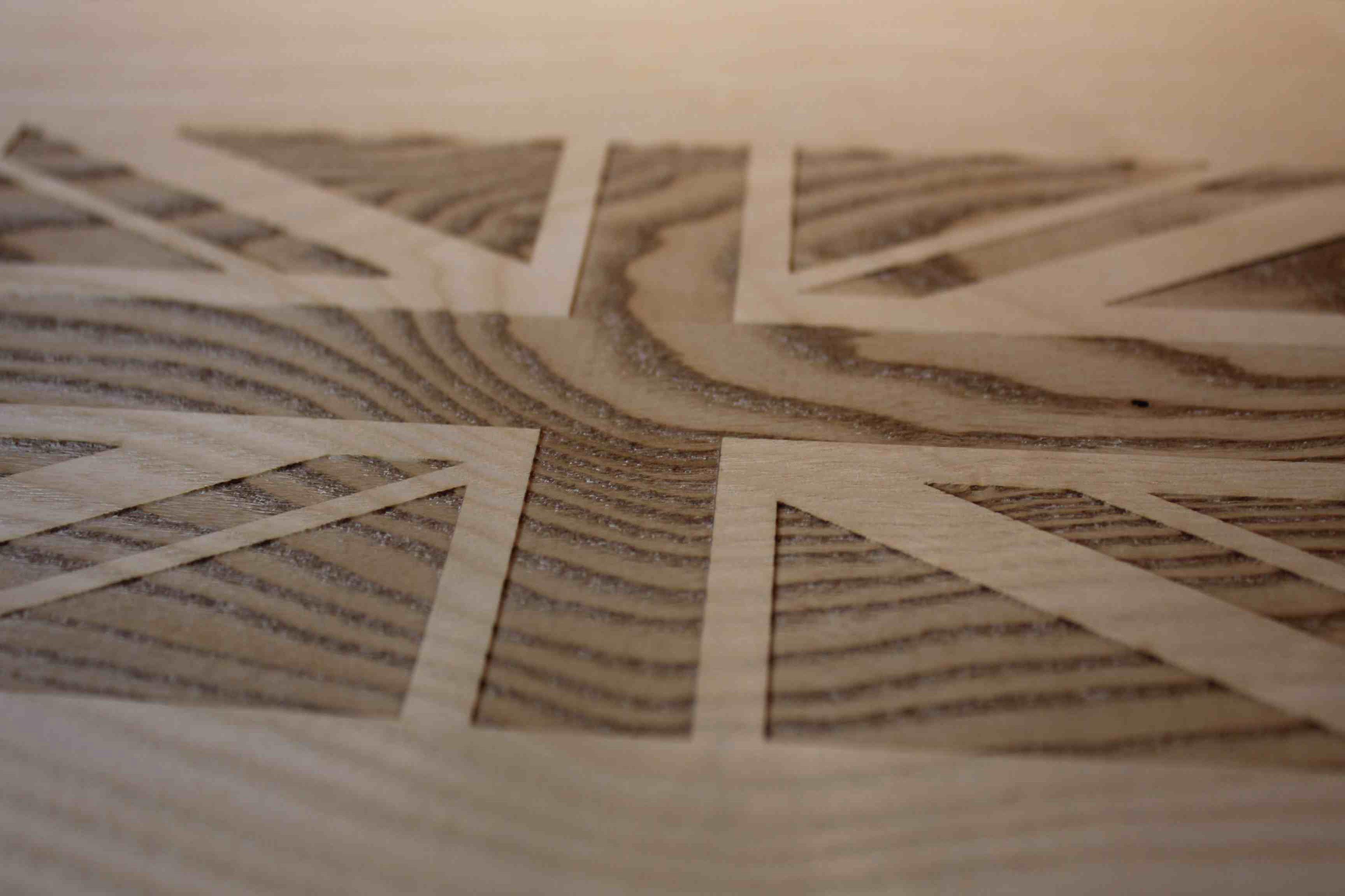 Raw wood laser engraved ben sherman union jack flag raw wood