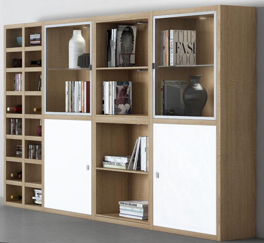 Wohnwand Bücherregal Vitrinenschrank TOLEO238 Eiche Sonoma, Lack