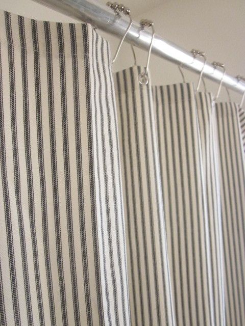 Daniel Dry Goods Black And White Ticking Stripe Shower Curtain 2 480x640 Pixels Would Slide Easily On A Rod Primitive