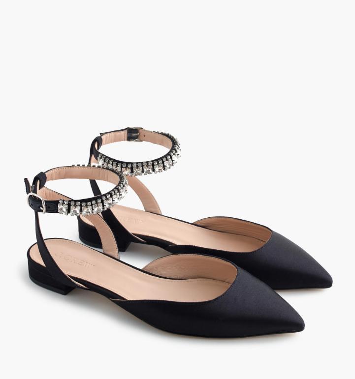 a1e62a0320c Satin Jeweled Ankle-Strap Flats