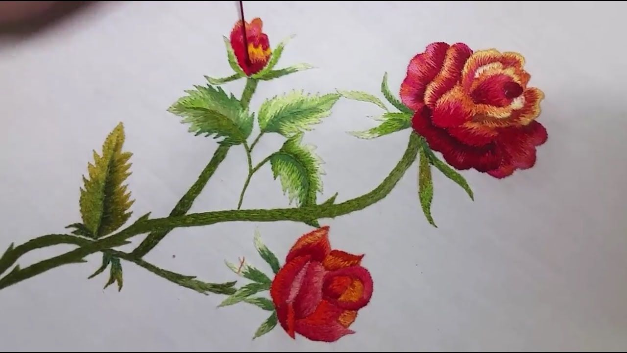 Rose Flower Hand Embroidery Flower Embroidery Designs Embroidery Flowers Embroidery Tutorials