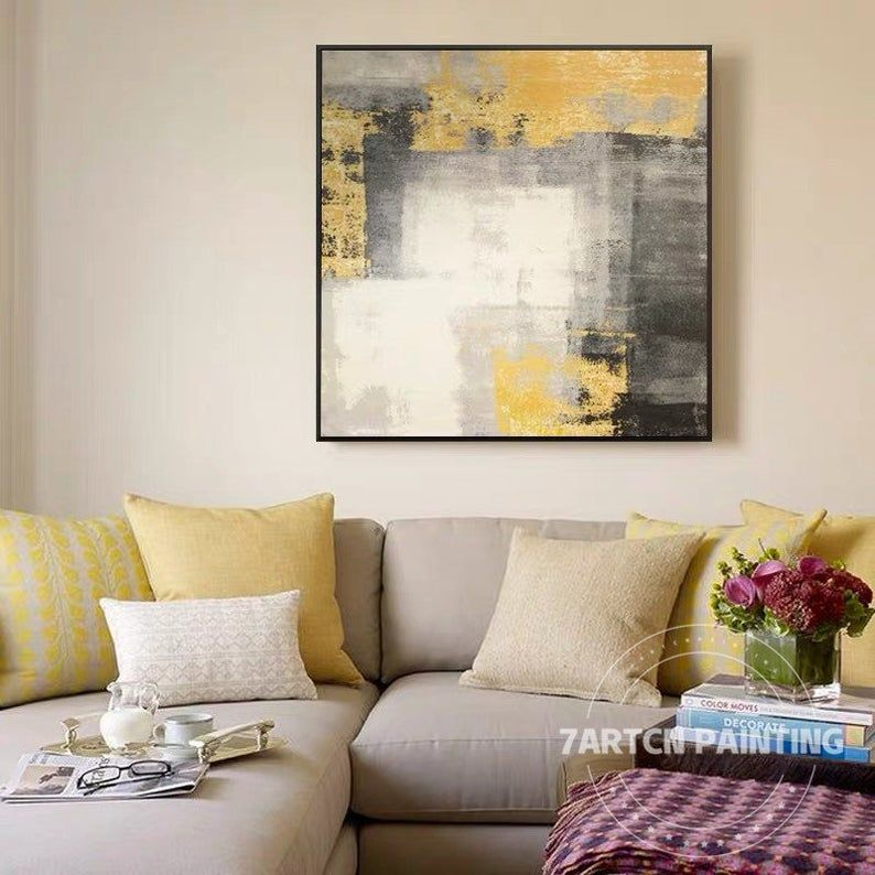 modern abstract canvas oil painting on canvas original on modern acrylic paintings for living room id=92430