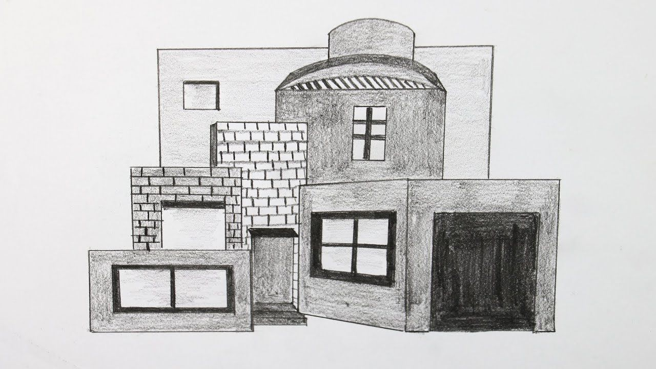 How to draw a modern house step by step for beginners