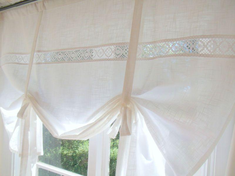 LINA WHITE*Raff Gardine*100/120/140/160 cm breit*Weiß*Shabby Chic