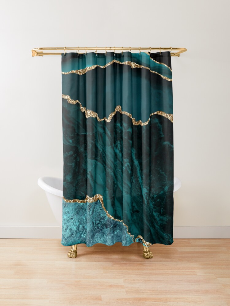 Amazing Blue And Teal Malachite Marble Shower Curtain In 2020