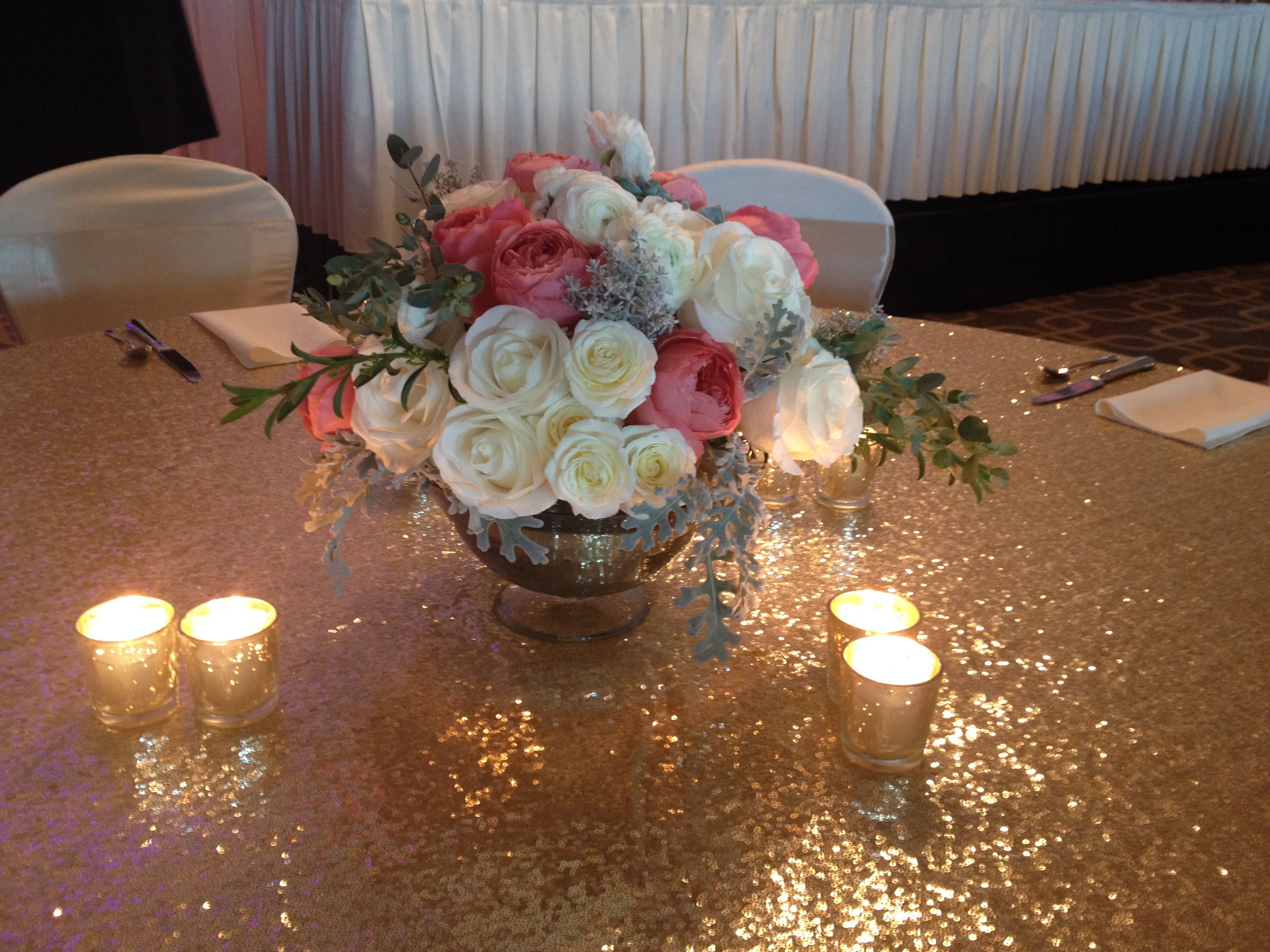 mercury glass centerpiece footed bowl filled with flowers gold rh pinterest com