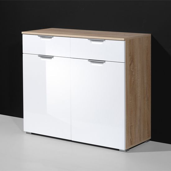 eva compact sideboard in gloss white and oak with 2 doors from rh pinterest com