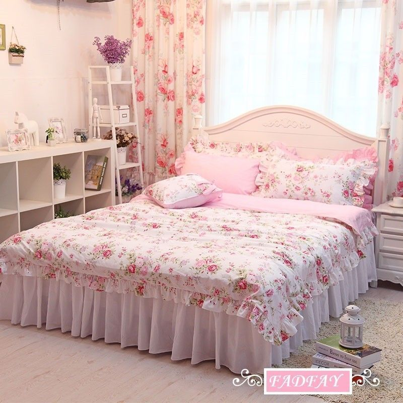 Korean Pink Rose Print Ruffled Bedding Sets