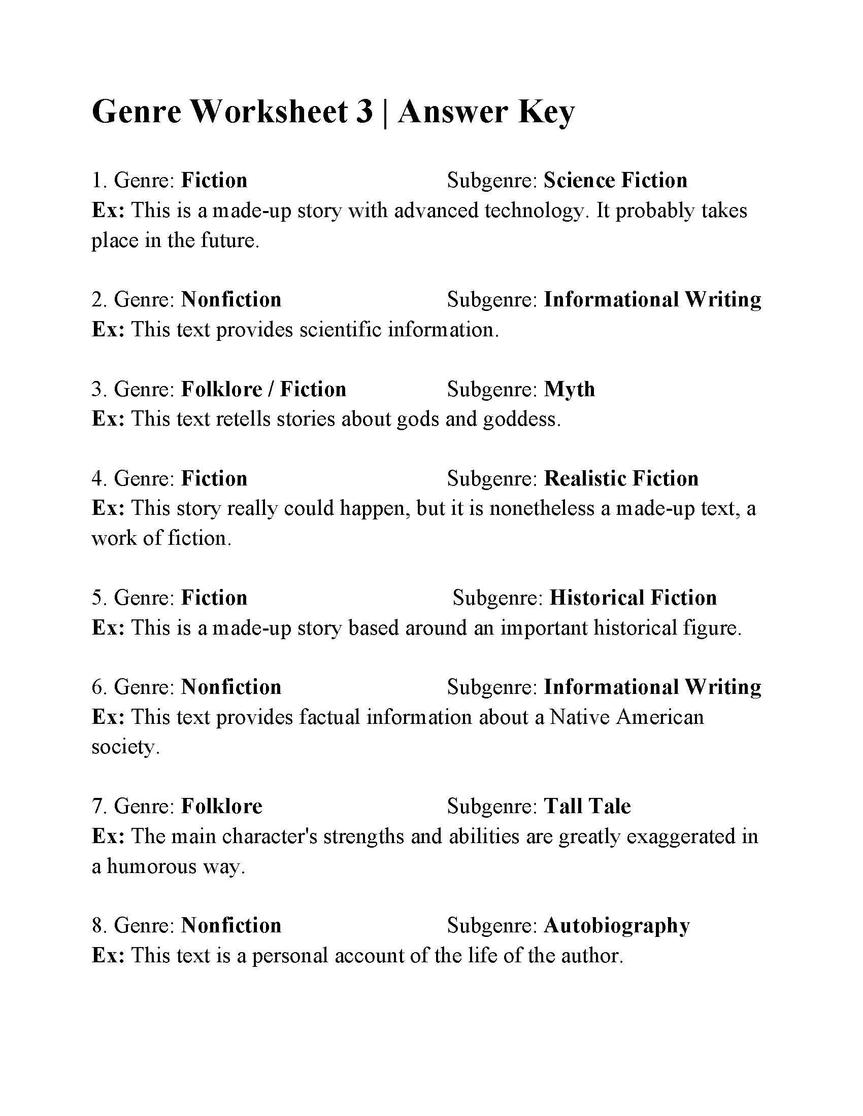 Genre Worksheets 5th Grade Genre And Subgenre Worksheet 6