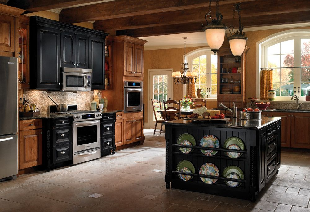 One Of Many Design Ideas For Your Kitchen From Kraftmaid Cabinets Available At Zeeland Lumber Kraftmaid Cabinets Rustic Kitchen Cabinets Kraftmaid Kitchens