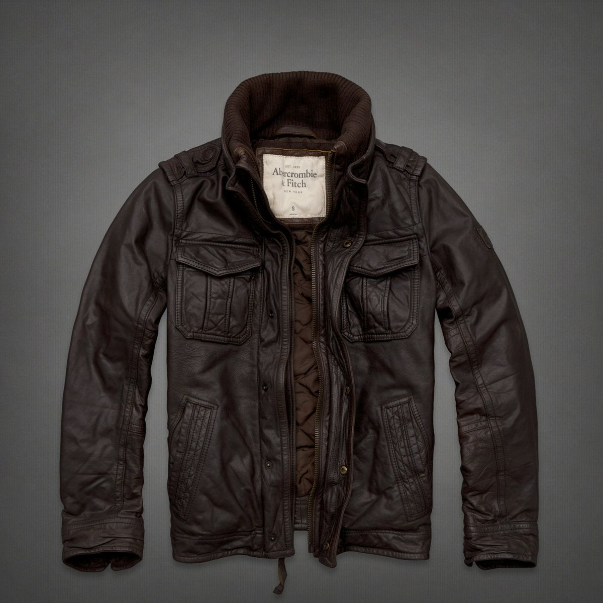 Mens Genuine Leather Bomber Jacket | Mens Outerwear | Abercrombie ...