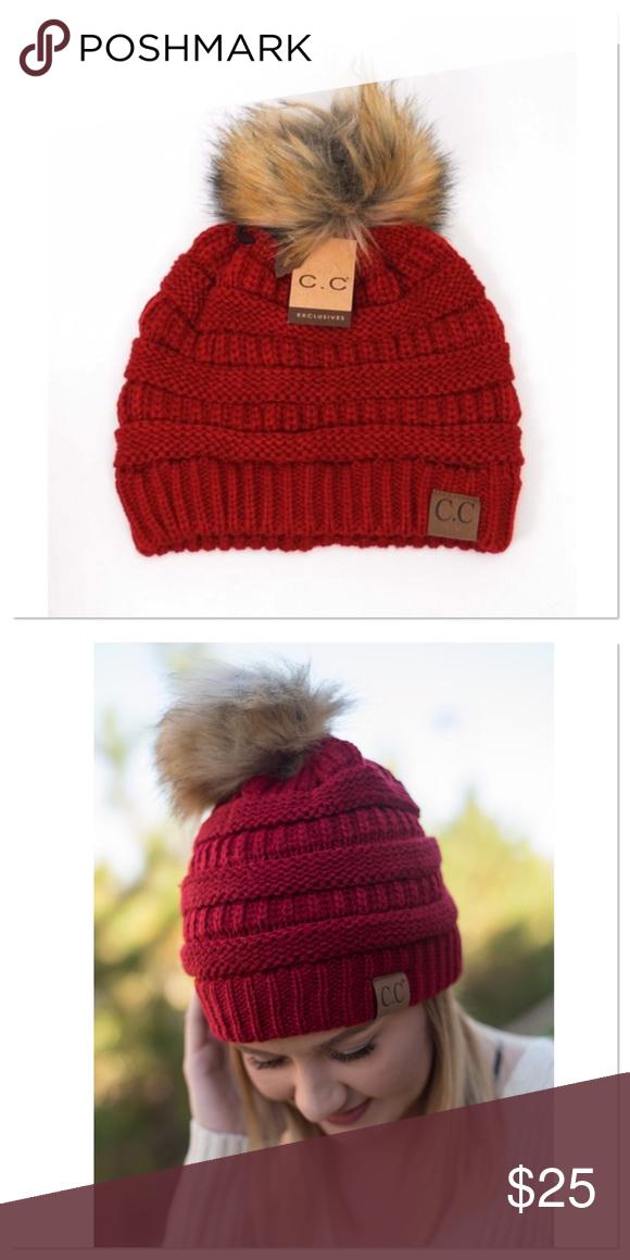 7413bf61f64 Red Knit Beanie With Fur Pom Pom Brand new red knit beanie with fur Pom Pom.  Also available in beige