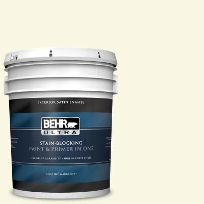 Behr Ultra 5 Gal P300 1 Lemon White Satin Enamel Exterior Paint And Primer In One 985005 The Home Depot Behr Ultra Exterior Paint Behr