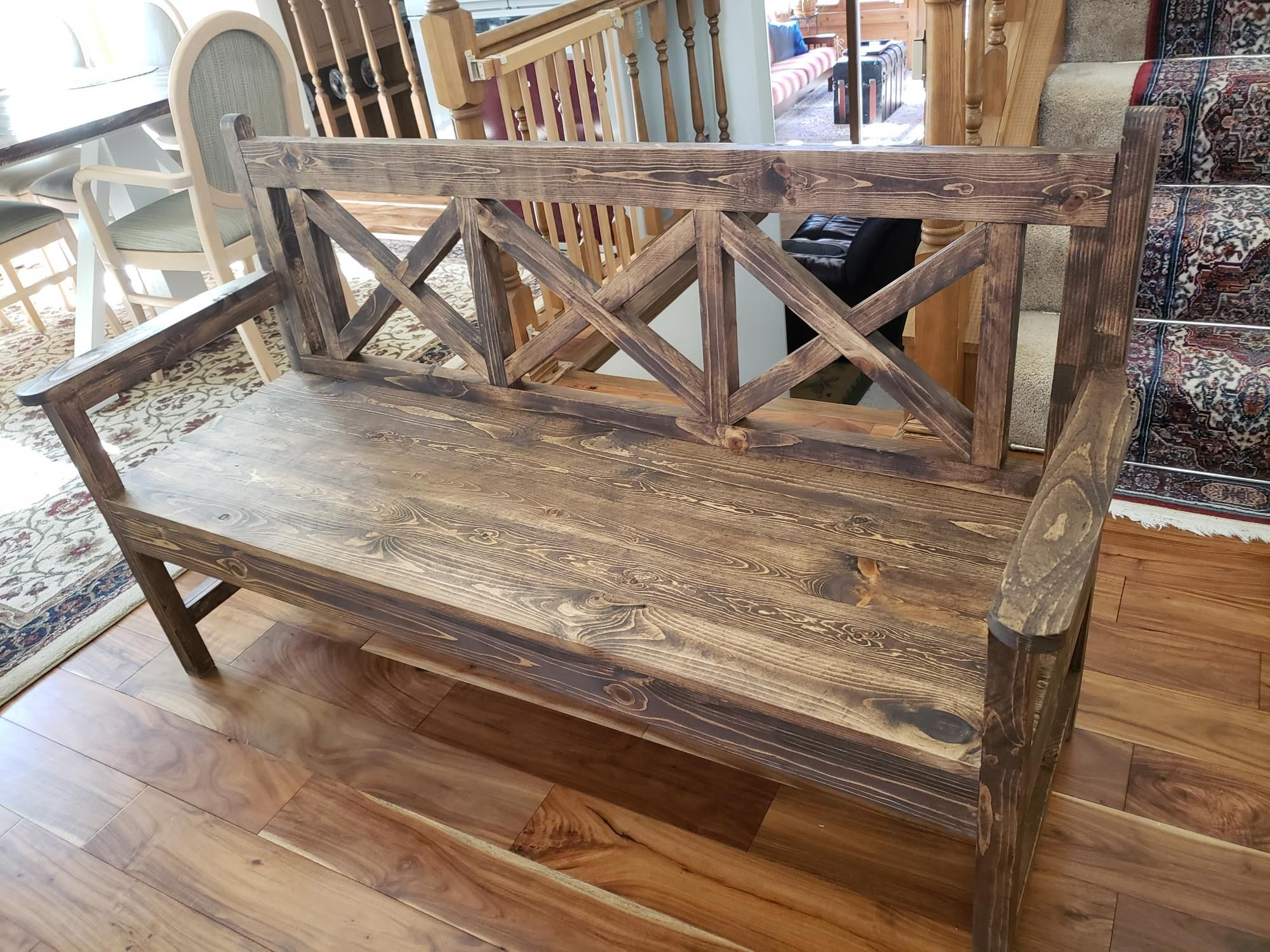 Farmhouse Dining Bench With Back Support 3 Seats Version Ana White Dining Bench With Back Farmhouse Dining Benches Rustic Bench Seat