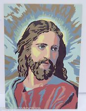 """VINTAGE MID-CENTURY GLOWING JESUS PAINT BY NUMBER PAINTING  10"""" x 14"""""""