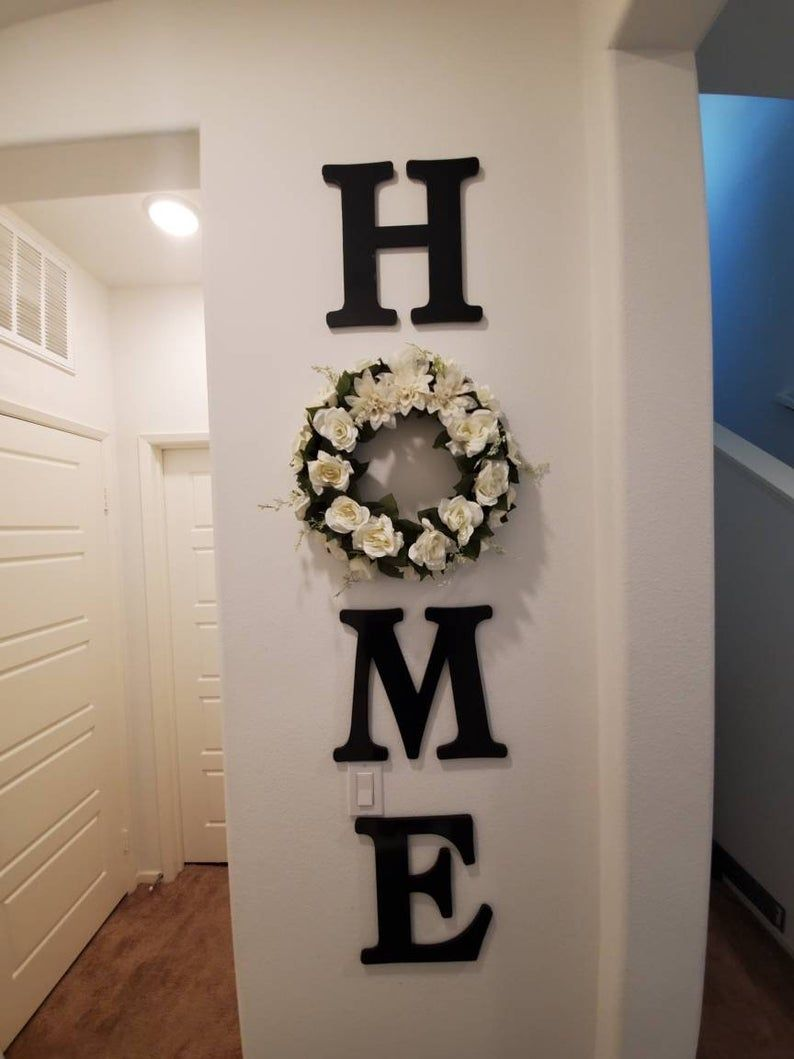 Home Wood letters with floral wreath