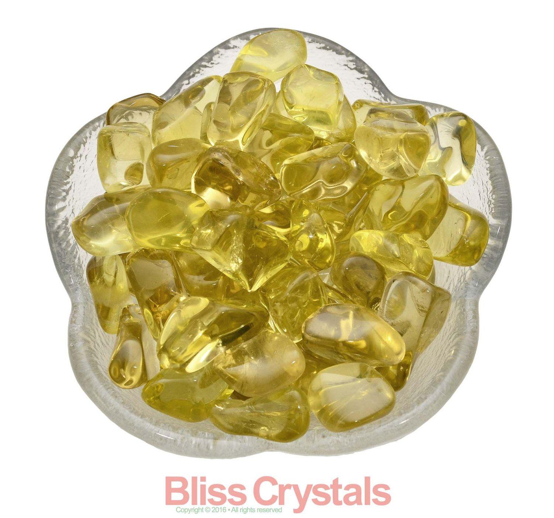 2 Medium LEMON QUARTZ Tumbled Stone Color Healing Crystal Yellow ...