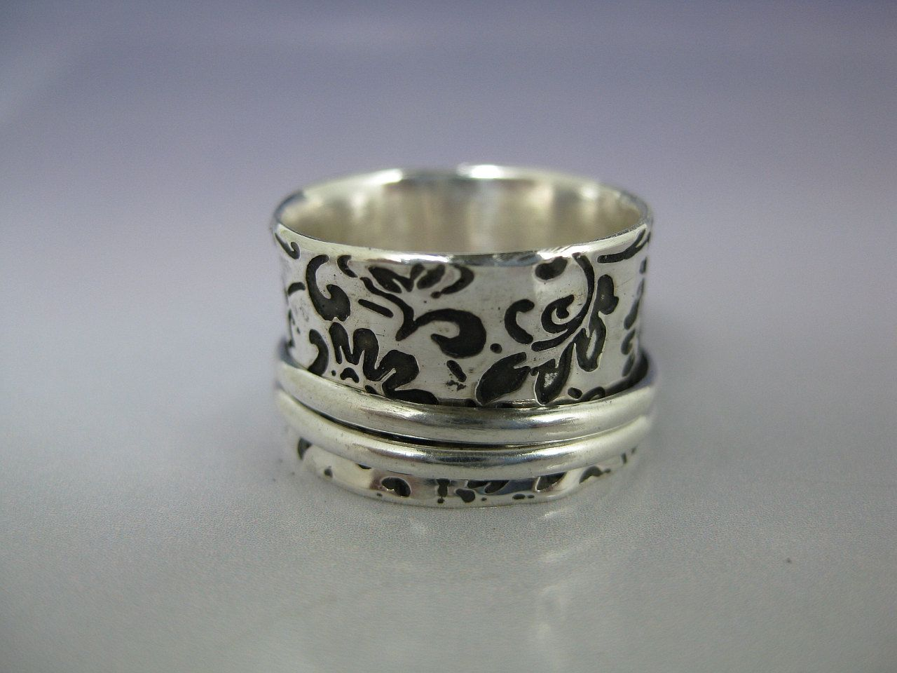 Spinner Ring  Etched Sterling with 2 Silver by formandfunktion, $98.00