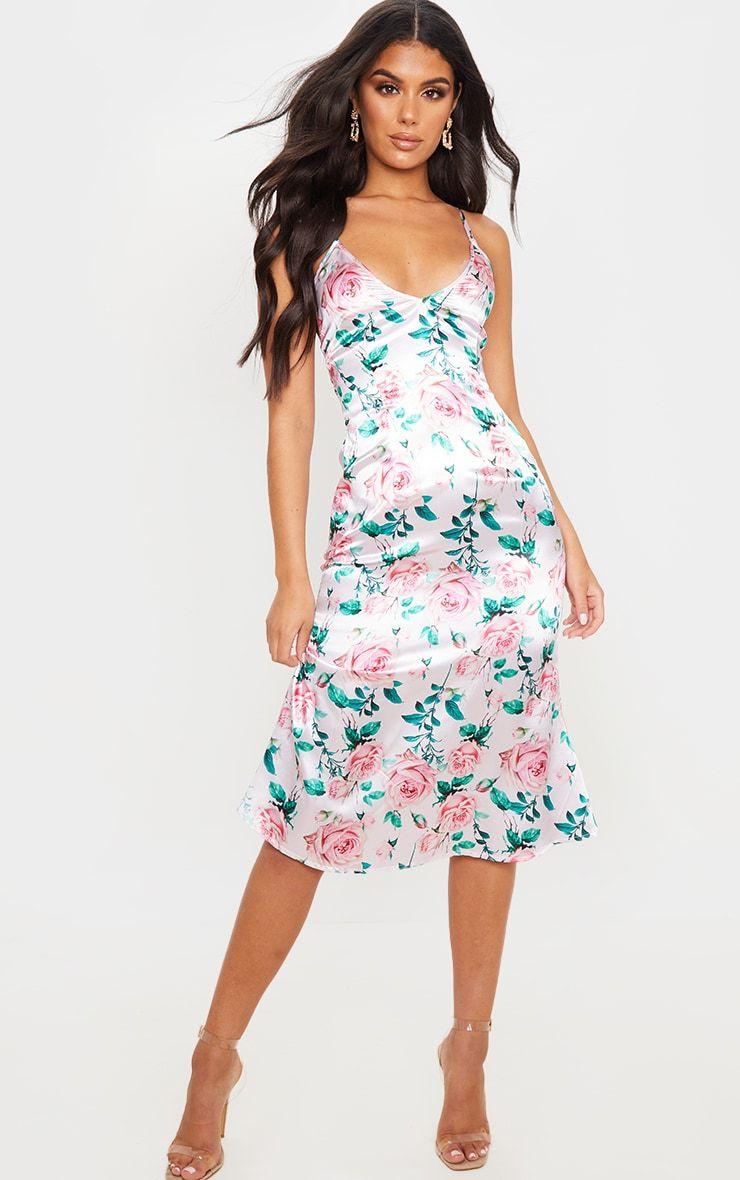 Blush Satin Strappy Rose Print Midi Dress Printed Midi Dress Printed Satin Dress Dresses [ 1180 x 740 Pixel ]