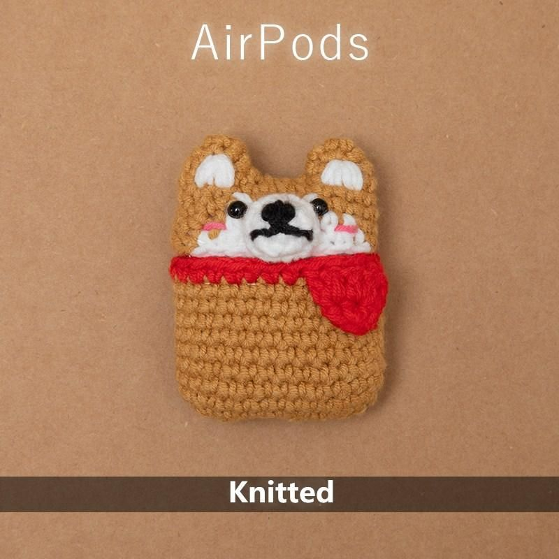 AirPod case Cute cartoon characters Handmade Protective case cover for AirPodsAirpods2 Premium Handmade Knitted AirPods CASE